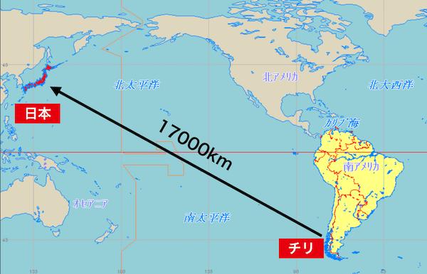 17000kmの距離