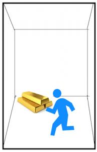 ゴールドを持ってエレベーターに乗る