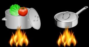 鍋には金属が使われる