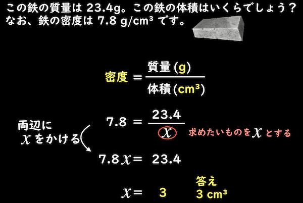 方程式による密度からの質量の求め方