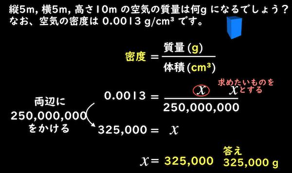 方程式を使った密度から質量を求める計算