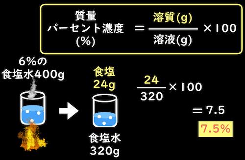 水溶液が蒸発したときの質量パーセント濃度の計算