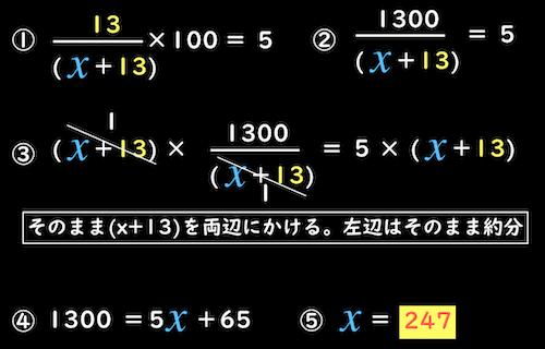 複雑な方程式を解いて触媒の質量を求める