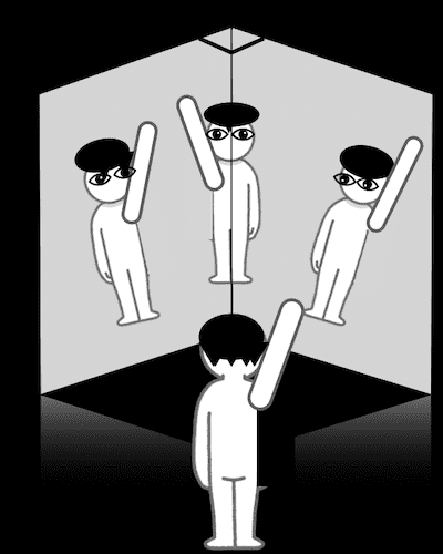 3枚合わせた鏡