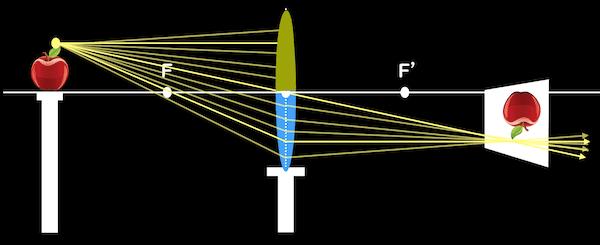 凸レンズの上半分を覆った場合の実像