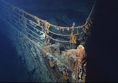 海底に沈んだタイタニック号