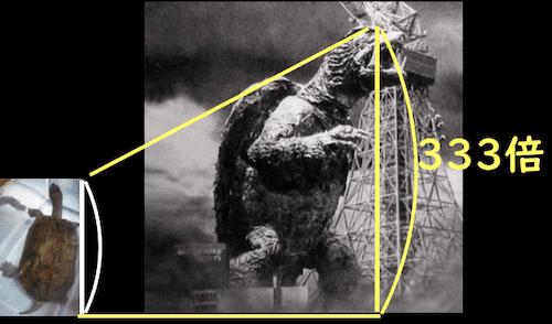 亀とガメラの体長