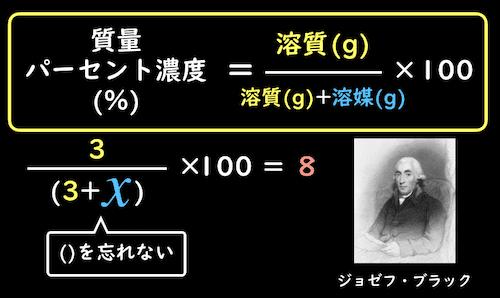 方程式を使った質量パーセント濃度解き方