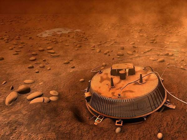 メタンに着陸したホイヘンスのイメージ図