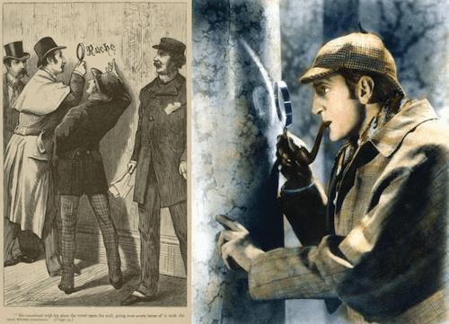 ルーペを使って観察するシャーロック・ホームズ